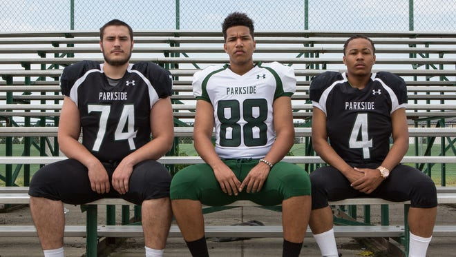 Felix Paradis, Juan Felix-Ramirez, and Dajour Church are seniors who will contribute on offense and defense for Parkside's football team in 2016.