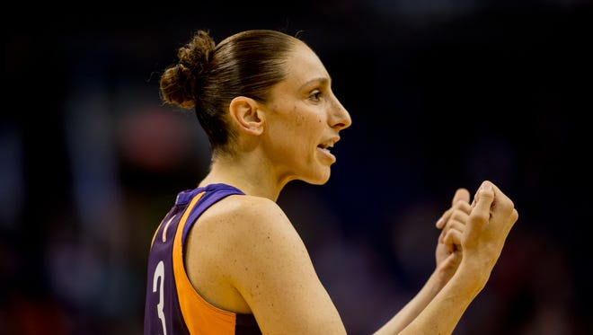 Phoenix Mercury guard Diana Taurasi calls to a team mate on July 31, 2018, during the Phoenix Mercury's match up against the Seattle Storm at Talking Stick Arena in Phoenix, Arizona.