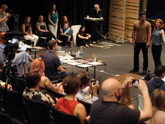 "The cast of ""Part of the Plan"" rehearses Tuesday, August"