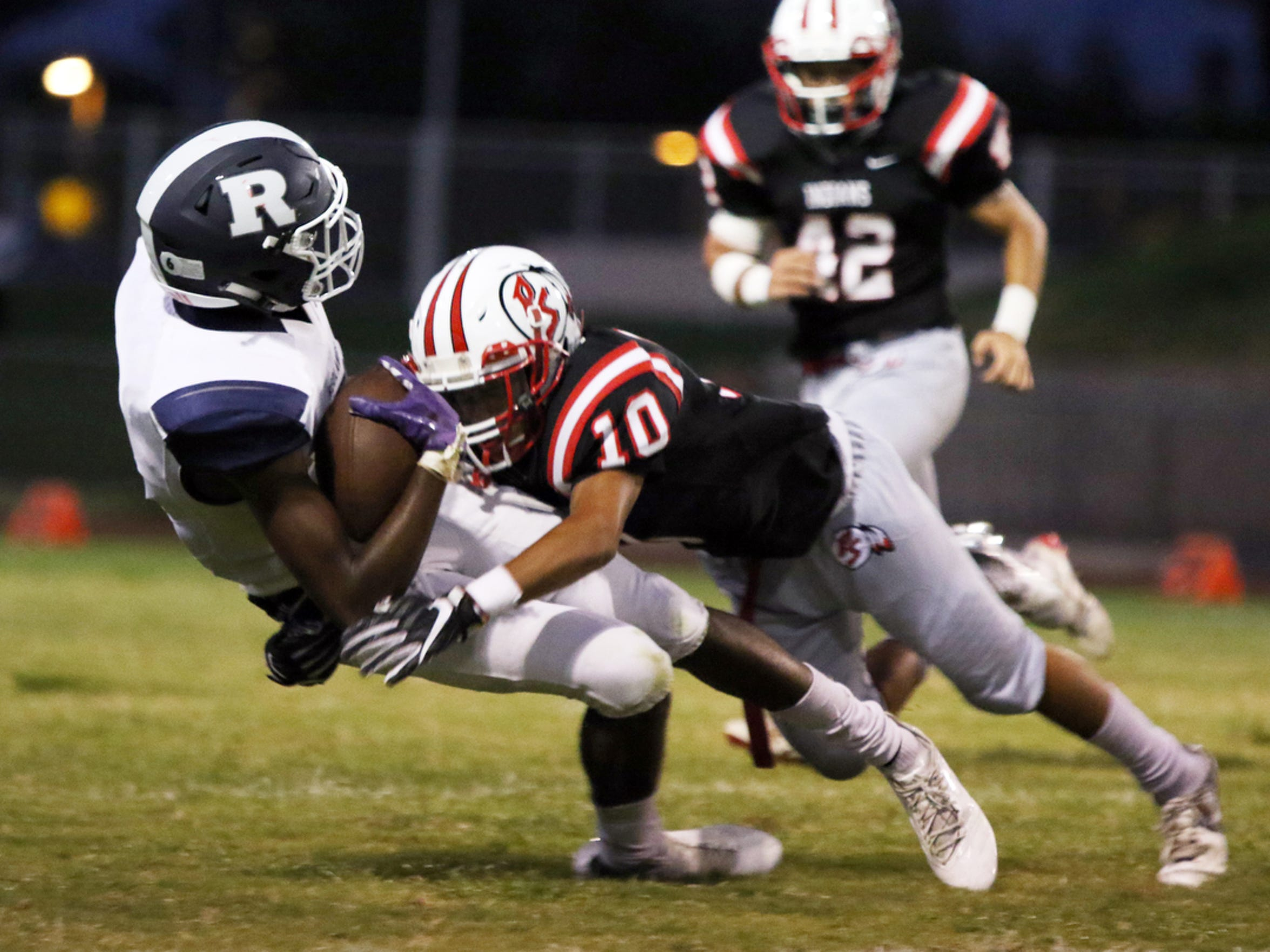 Palm Springs' Miles Crenshaw, shown here making a tackle against Redlands in 2018, is considered by many opposing players to be the fastest player in the Coachella Valley.