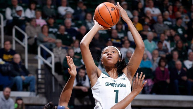 Michigan State's Sidney Cooks, right, shoots against Toledo's Tanaya Beacham (23), Monday, March 19, 2018, in East Lansing, Mich. MSU won 68-66.
