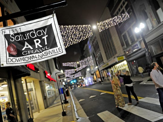 The festive First Saturday Art Crawl is a chance to explore the Fifth Avenue galleries, plus as many as 20 other downtown Nashville galleries.