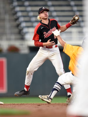 ROCORI's Jack Steil makes a play at second base during last year's state tournament game against Mahtomedi. Steil is expected to pitch at 2 p.m. Thursday when the Spartans play St. Cloud Apollo in Cold Spring in the Section 5-3A playoffs.