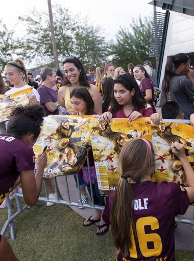 The Arizona State Sun Devils sign autographs following their season finale game against Stanford Cardinal at Sun Devil Soccer Stadium on Sunday, Nov. 4, 2018 in Tempe, Arizona.