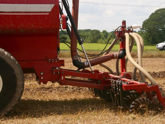 This tanker injector unit puts manure into the soil with minimal disturbance.