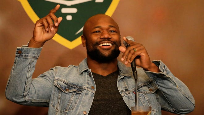 Green Bay Packers running back Ty Montgomery co-hosted Monday's Clubhouse Live at The Clubhouse Sports Pub & Grill in downtown Appleton. Montgomery's guest was Packers right guard Jahri Evans.