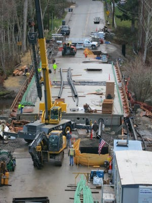 A view of the new bridge on West Kingston Road in January.