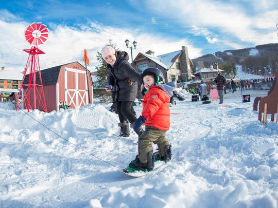 Mountain Creek's Burton Riglet Park offers the opportunity for young kids to be pulled over obstacles like boxes and bumps to get the feeling of snowboarding.