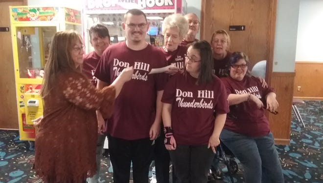 The Fraternal Order of Eagles Aerie 3183 in Midway recently presented a donation to the Don Hill Thunderbird bowlers. Participating in the donation were:Crissy Hill, Lu Hill, Roger Hill, Barb Plumber, Eagles representative Ruth Basty, Tim Jennings, Beth Harrington and Jessica Henley.