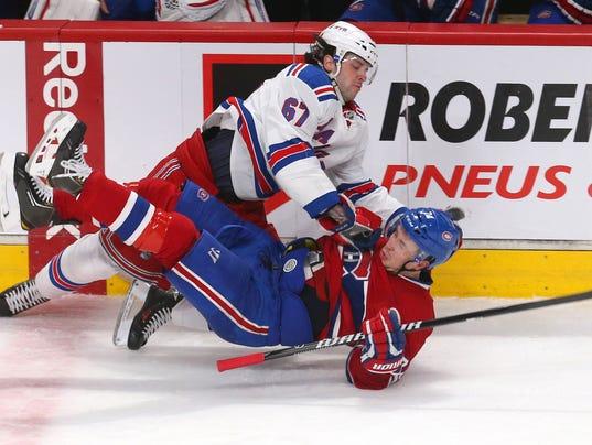 Rangers Benoit Pouliot at Montreal April 2014