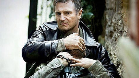 "Bryan Mills (Liam Neeson) snaps a bad guy's neck in ""Taken 3."""