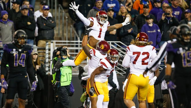 USC Trojans wide receiver Darreus Rogers (1) celebrates with teammates after scoring a touchdown.