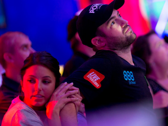 Joe Cada watches his dreams of a second Main Event title get dashed. He took fifth.