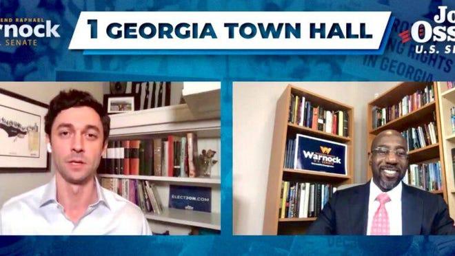Democratic U.S. Senate candidates Jon Ossoff (left) and Rev. Raphael Warnock (right) held a joint virtual townhall on Aug. 19, 2020.