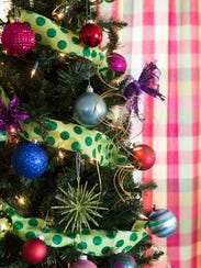 """Close view of ornaments on the """"tacky tree"""" in the"""