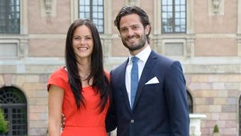 Swedish Prince Carl Philip, right, and Sofia Hellqvist, left,  when they announced their engagement at a press conference at The Stockholm Palace, in Stockholm, Friday.