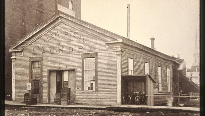 The Salem Steam Laundry was located on the east side of Liberty Street between State and Ferry Streets in a building that original served as the First Methodist Church.