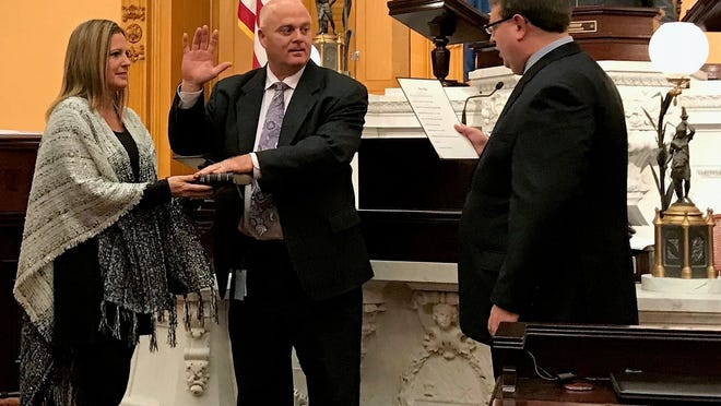 Brian Hill, a Republican of Zanesville, was recently sworn in as State Senator for Ohio's 20th Senate District. The district includes Fairfield, Guernsey, Hocking, Morgan and Muskingum counties and parts of Athens and Pickaway counties. Hill was previously the Ohio House representative for the 97th district and replaces Troy Balderson in the senate, who was elected to the U.S. House of Representatives.