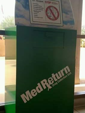 The Phoenix Police Department makes these boxes available for safe disposal of medicines.