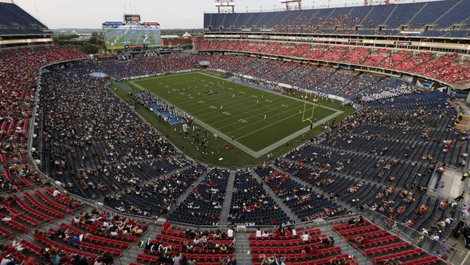 Fans watch in the third quarter of an NCAA college football game between Vanderbilt and Mississippi in LP Field Saturday, Sept. 6, 2014, in Nashville, Tenn. (AP Photo/Mark Humphrey)