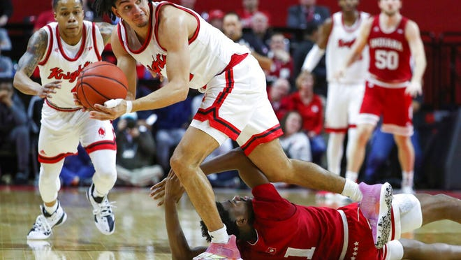 Rutgers guard Geo Baker (0) steals the ball from Indiana  guard Al Durham (1) during the first half of an NCAA college basketball game, Wednesday, Jan. 15, 2020 in Piscataway, N.J.