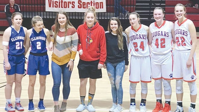 Pratt High School's Dani Staats (middle, dark shirt) was selected for the Hoisington All-Tournament team last week, along with Lexi Walker (not pictured).