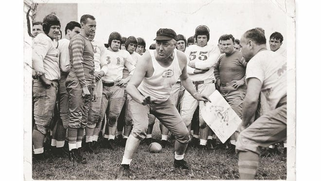 Coach Francis Schmidt at an Ohio State football practice.