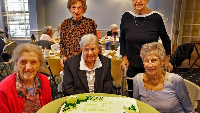 Members of the Weymouth Newcomers Club gather for a group birthday of some 90-year-old members at the Allerton House, Weymouth on Sunday November 5, 2017. Front: Dorothy Wall-91, Bunny Mann-90, Shirley Bartlett-90. Rear:  Lee Nims-90, Lee Walls-90.