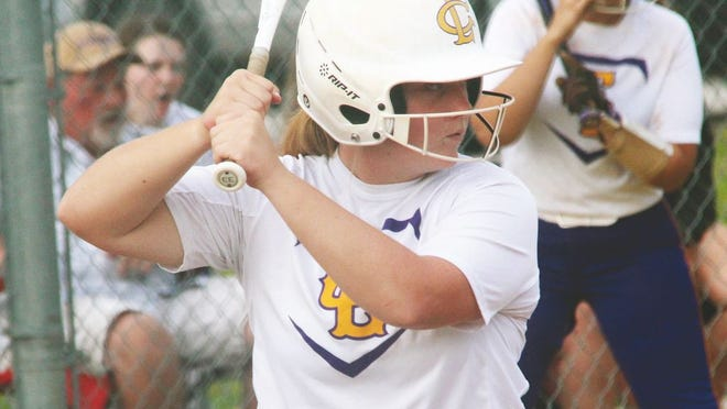 Camdenton senior Katy Pitts eyes her pitch in a game against Kickapoo on Tuesday, September 16, in Camdenton. Pitts hit an RBI triple in the second inning.