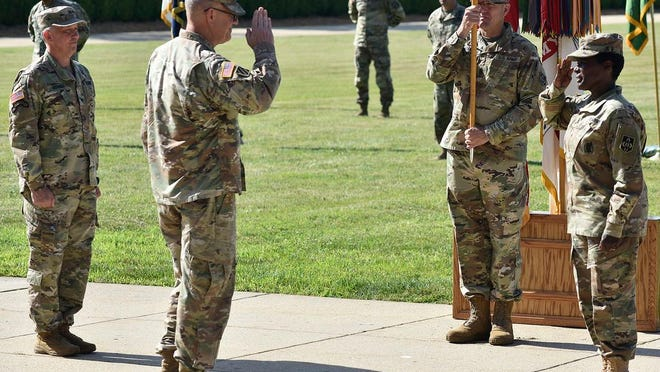The U.S. Army Maneuver Support Center of Excellence and Fort Leonard Wood held a change-of-command ceremony today on MSCoE Plaza where Maj. Gen. Donna Martin relinquished command of the installation to Brig. Gen. James Bonner.