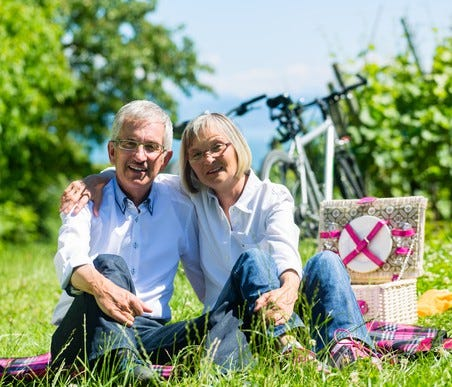 Senior couple sitting on the grass in front of a picnic basket