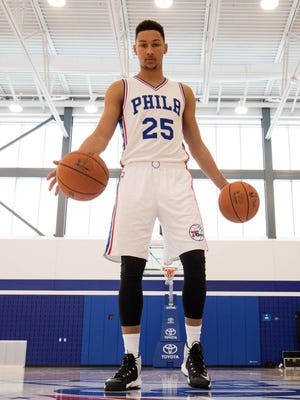 Ben Simmons dribbles the ball during media day at the Philadelphia 76ers Training Complex. Mandatory Credit: Bill Streicher-USA TODAY Sports ORG XMIT: USATSI-326210 ORIG FILE ID:  20160926_pjc_sq4_423.JPG