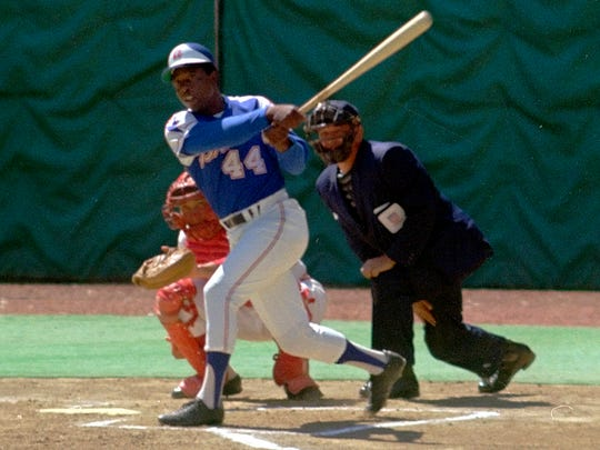 Hank Aaron, pictured on April 4, 1974, starts toward first base after hitting his 714th career home run.