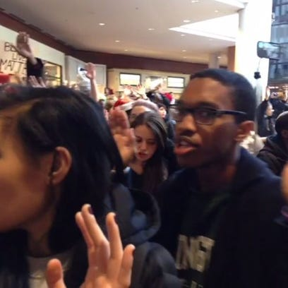 Protesters at The Galleria in St. Louis on Friday,