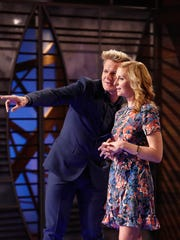 """MasterChef"" hosts Gordon Ramsay and Christina Tosi in Season 7's ""Battle For A White Apron, Part 1"" that aired June 1 on Fox."