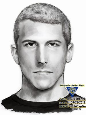 Police released this sketch of a suspect who attacked a woman running in Parvin State Park on Monday.