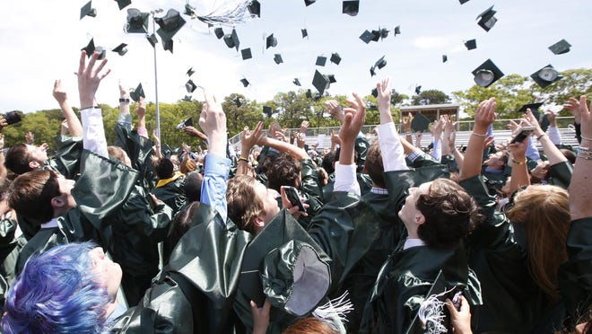 Graduates throw their hats in the air after receiving their diplomas during the Dennis-Yarmouth Regional High School graduation ceremony in this 2015 file photo.