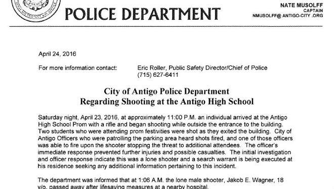 Antigo Police Department press release