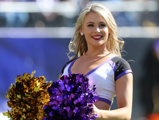Baltimore Ravens cheerleaders entertain the fans during