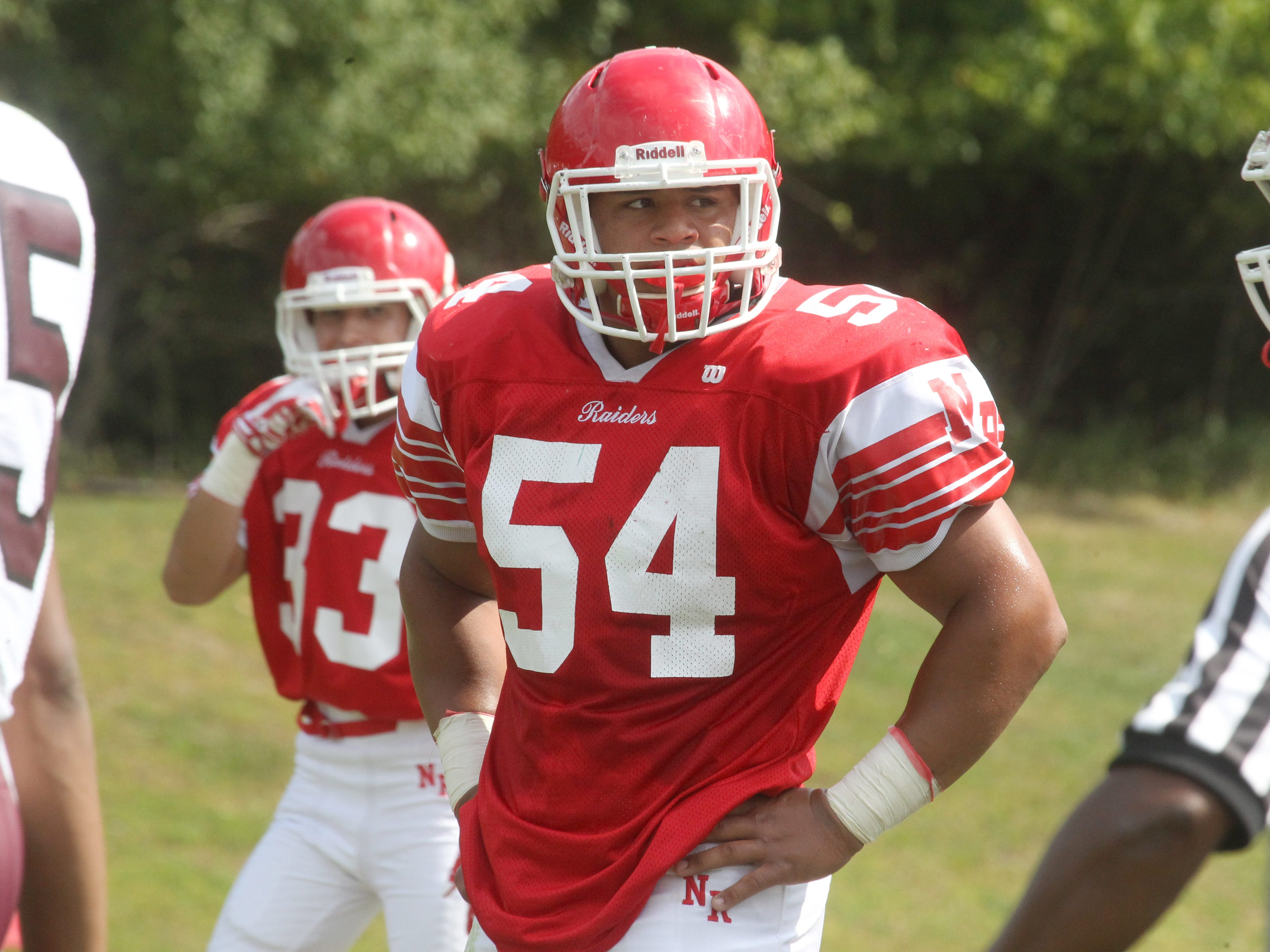 North Rockland's Eric Favors during a game with Ossining at North Rockland Sept. 20, 2014.