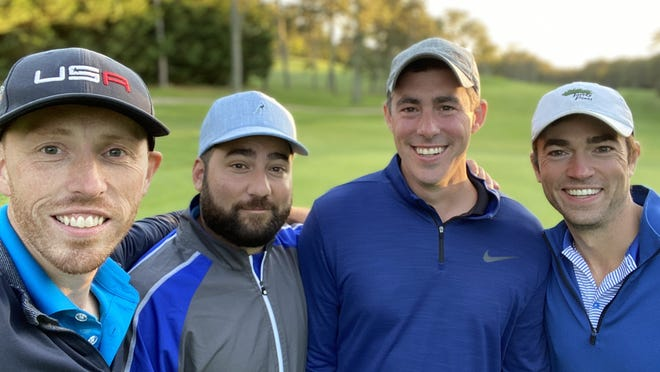 Golfers (from left) Sean Toland, Mike Vadala, Dennis Moran and Dave Henault played 44 holes of golf to raise money in a Jimmy Fund fundraisers.