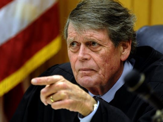 Judge Richard Baumgartner reminds all lawyers in the case that any mention of the defendant's first husband, the late District Attorney General Ed Dossett, would be grounds for an immediate mistrial during the murder trial of Raynella Dossett Leath on March 3, 2009, in Knox County Criminal Court.