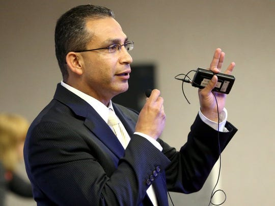 State Rep. Abel Herrero talks to students during the Discover Your Direction: Exploring Endorsements Conference on Thursday, Feb. 4, 2016, at the Education Service Center Region 2 in Corpus Christi.