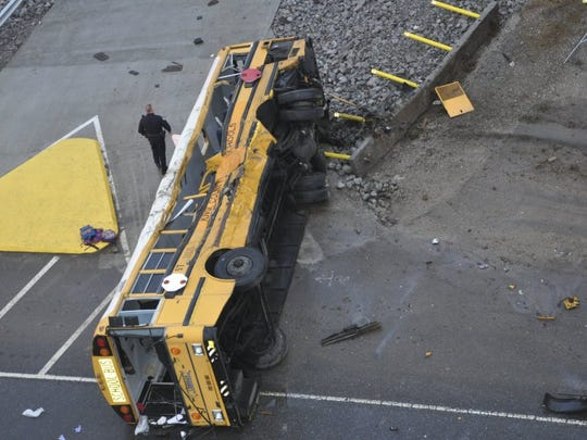 A photograph from the Knoxville Police Department investigative file shows Bus 57 from Sunnyview Primary School after the fatal crash Dec. 2, 2014, on Asheville Highway. (KNOXVILLE POLICE DEPARTMENT)