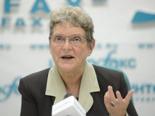 Svetlana Gannushkina during a press conference in Moscow