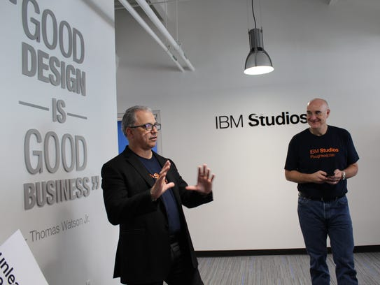 Ross Mauri, left, general manager of IBM z Systems,
