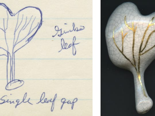"""Carla Stine's """"Ginkgo Leaf"""" is made out of porcelain (the image on the left is the sketch it is based on)."""