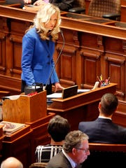Senator Janet Petersen speaks at the opening of the legislative session Monday, Jan. 8, 2018.