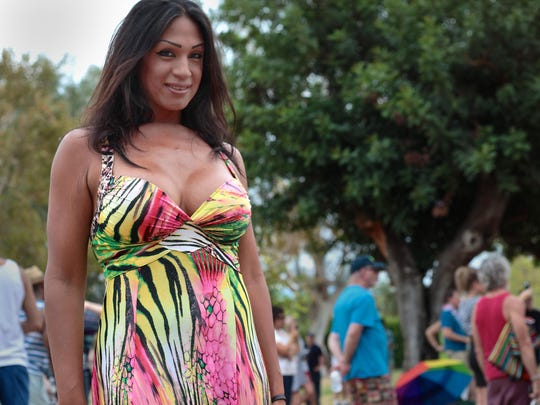 Jennifer Alaniz, 37, attends the proclamation of Transgender Pride Day for the Coachella Valley at Ruth Hardy Park in Palm Springs, Sunday. Alaniz began her personal transformation at the age of 19.