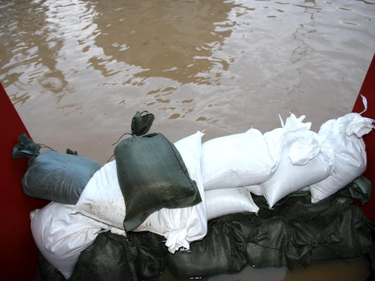 pile of sandbags in defense from the water
